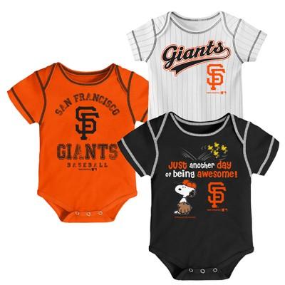 San Francisco Giants Baby Boys' 3pk Short Sleeve Bodysuit - 0-3 M