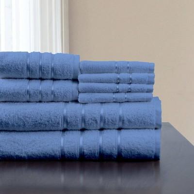 8pc Plush Cotton Bath Towel Set Blue - Yorkshire Home
