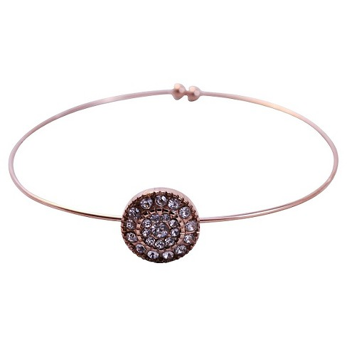 Women's Zirconite Pave Crystal Thin Open End Bracelet - Pink - image 1 of 1