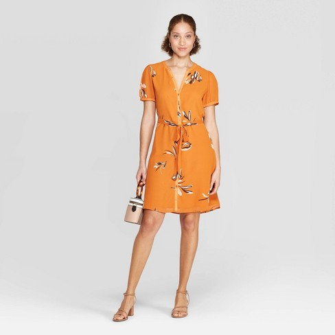 Women's Floral Print Casual Fit Cap Sleeve Deep V-Neck Dress - A New Day™ Rust L - image 1 of 3