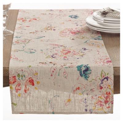 Light Brown Primavera Printed Floral Design Table Runner (16 x72 )- Saro Lifestyle®