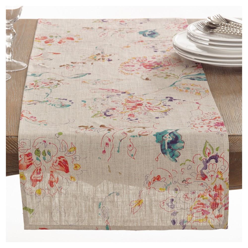 Light Brown Primavera Printed Floral Design Table Runner 16 34 X72 34 Saro Lifestyle