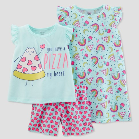 Girls' 3pc Poly Pizza/Hearts Pajama Set - Just One You® made by carter's Blue - image 1 of 1