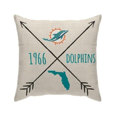 NFL Miami Dolphins Cross Arrow Decorative Throw Pillow