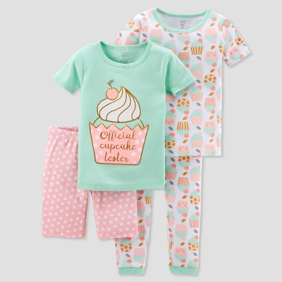 Baby Girls' 4pc Glitter Cupcakes Pajama Set - Just One You® made by carter's Green 9M