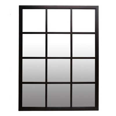 "23""x30"" Classic Black Windowpane Decorative Wall Mirror Black - Patton Wall Decor"
