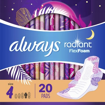 Always Radiant Overnight Sanitary Pads with Wings - Scented