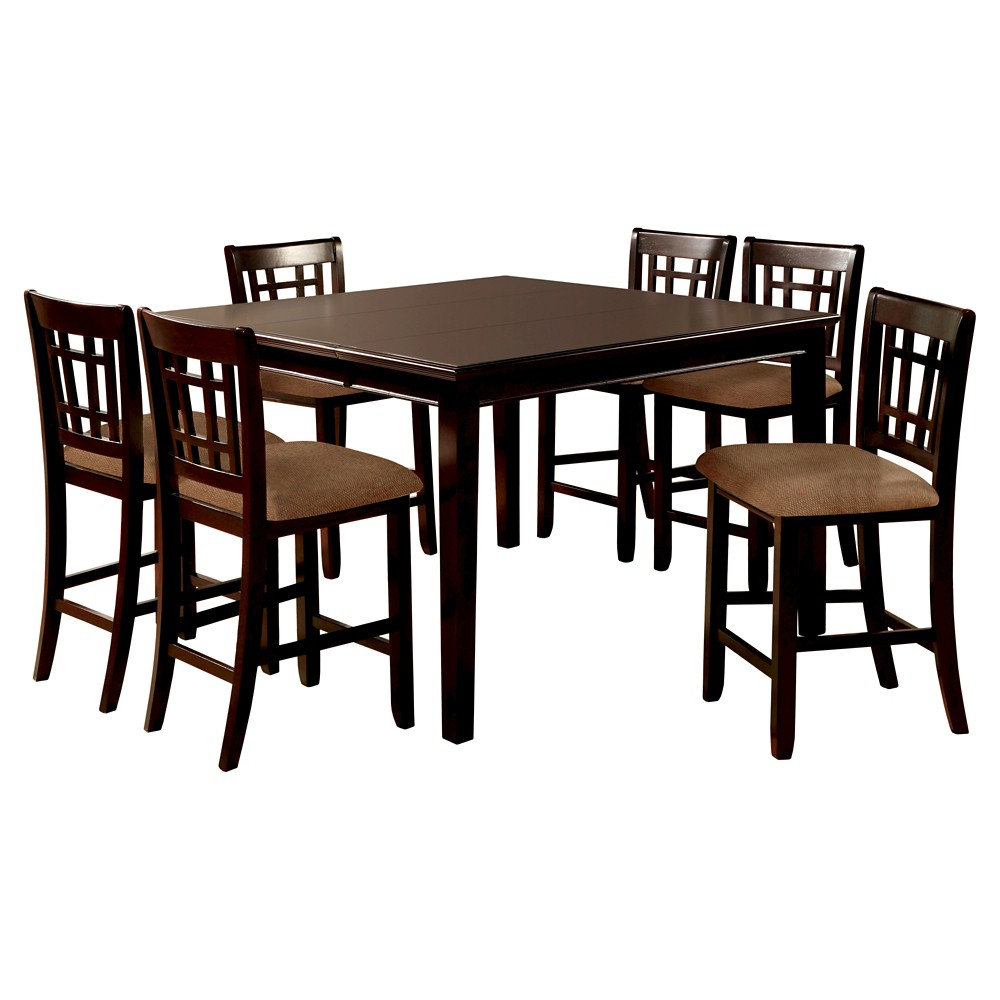 ioHomes 7pc Simple Counter Dining Table Set Wood/Dark Cherry