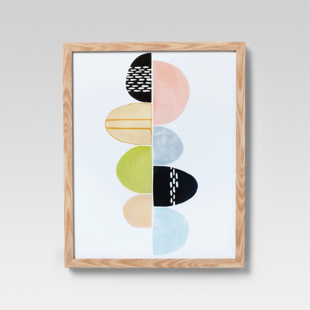 Framed Pastel Abstract Wall Print 16 X 20 - Project 62, Multi-Colored