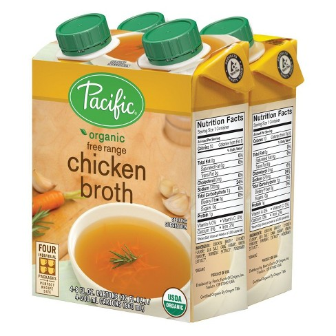 Pacific Foods Organic Free Range Chicken Broth 4ct 8oz Target
