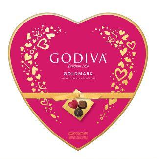 Godiva Valentine's Day Goldmark Assorted Chocolate Heart Box - 5.25oz