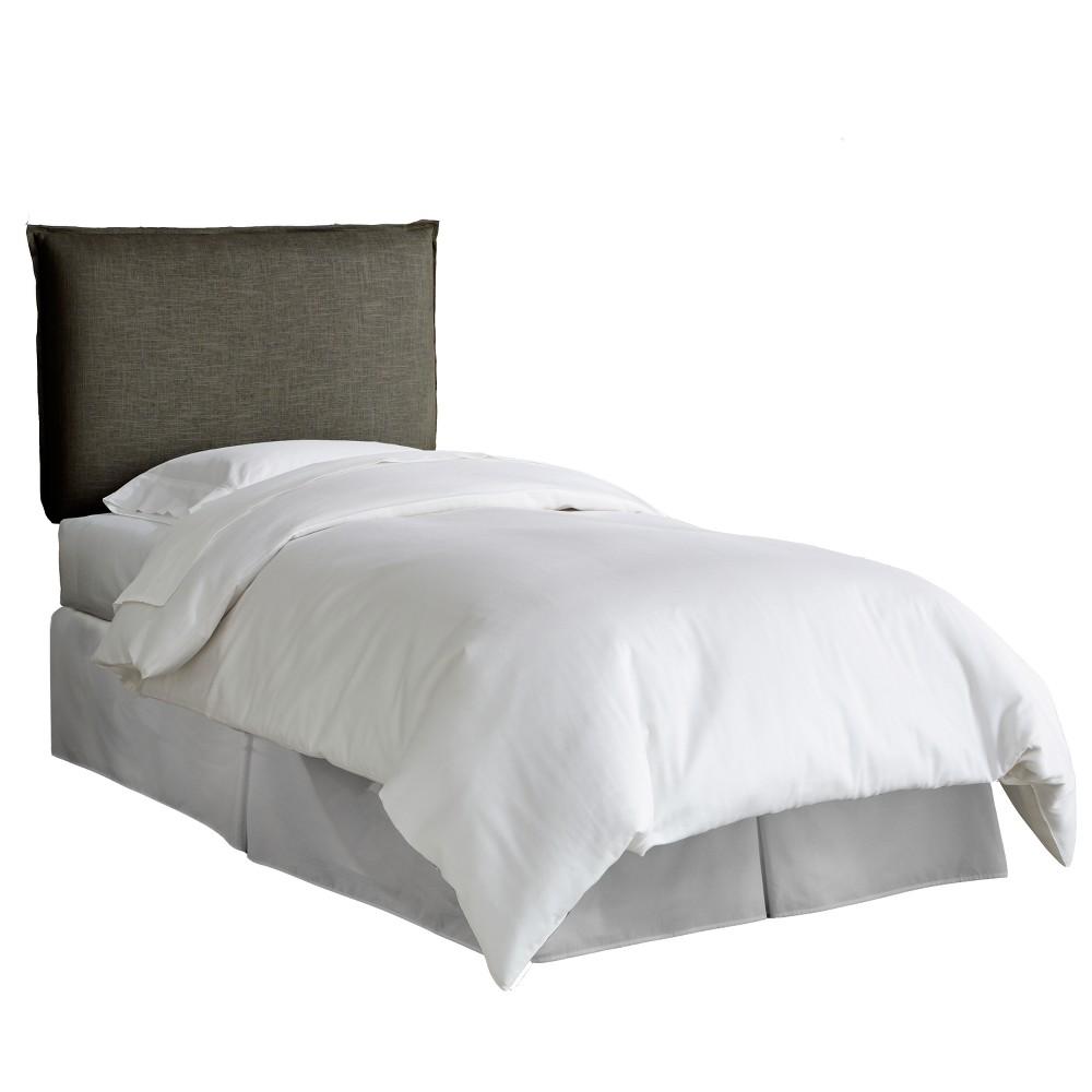 Kid's French Seam Linen Upholstered Headboard Queen Linen Slate - Pillowfort