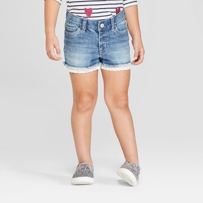 Toddler Girls' Eyelet Trim Release Hem Jean Shorts - Cat & Jack™ Blue 12M