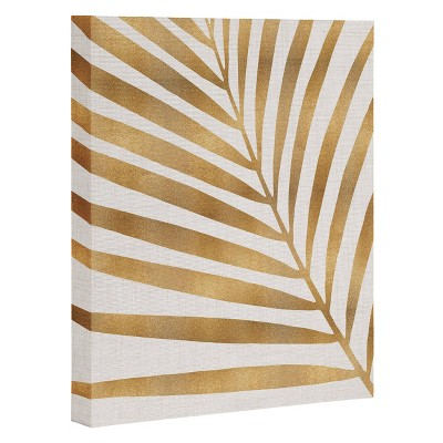 "16"" x 20"" Modern Tropical Metallic Palm Leaf Unframed Wall Canvas Art Gold - Deny Designs"