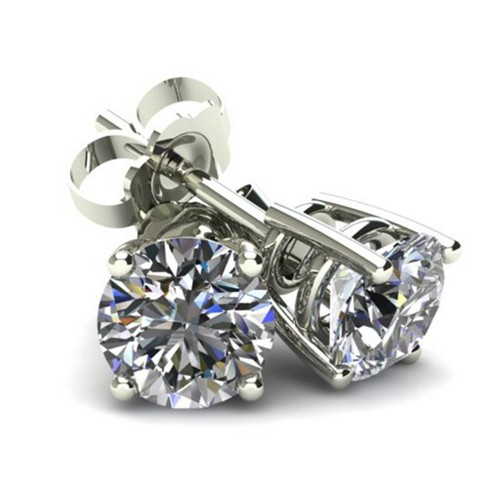 Pompeii3 .20Ct Round Brilliant Cut Natural Diamond Stud Earrings Basket Set in 14K Gold - image 1 of 3