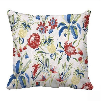 Square Multi Floral Pillow with Linen Reverse - Threshold™