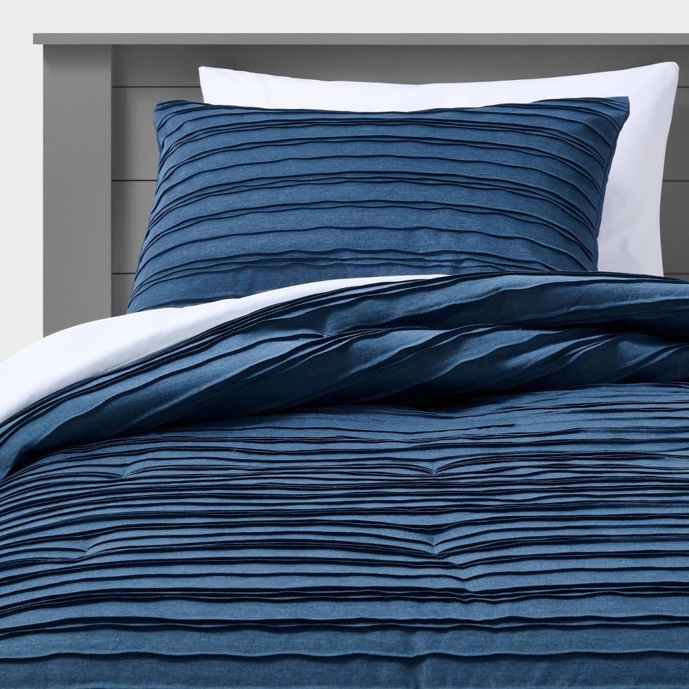 Full Queen Jersey Wave Comforter Set Navy Pillowfort 8482