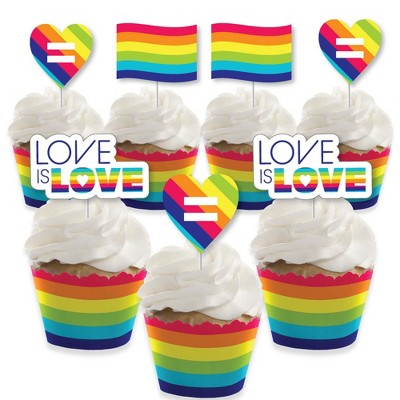 Big Dot of Happiness Love is Love - Gay Pride - Cupcake Decoration - LGBTQ Rainbow Party Cupcake Wrappers and Treat Picks Kit - Set of 24
