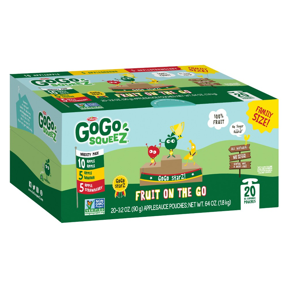 GoGo SqueeZ Fruit on the Go Variety Pack Apple Apple, Apple Banana, Apple Strawberry 20ct / 3.2oz