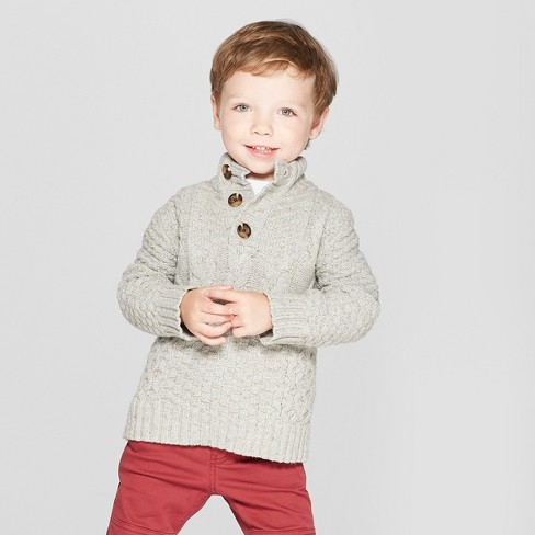 Toddler Boys' Long Sleeve Mock Neck Pullover Sweater - Cat & Jack™ Heather Gray - image 1 of 3