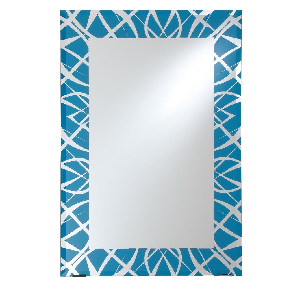 Rectangular Beveled Frameless Wall Mirror with Silk Screened Blue Pattern Embedded Border Sky Blue 24