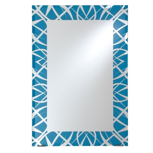 "Rectangular Beveled Frameless Wall Mirror with Silk Screened Blue Pattern Embedded Border Sky Blue 24"" X 36"" - Breeze Point - image 1 of 3"