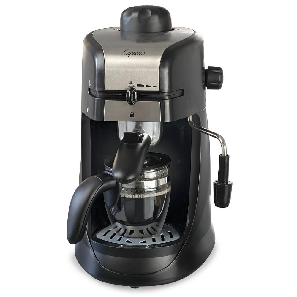 Image of Capresso 4 Cup Espresso & Cappuccino Machine Black 303.01, Silver Black