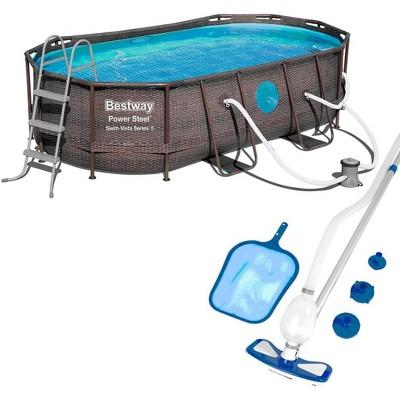Bestway 14 x 8 x 3.3 foot Power Swim Vista Pool Set with Pump & Cleaning Kit