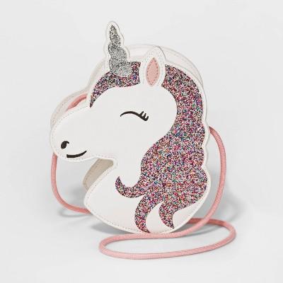 Girls' Unicorn Glitter Crossbody Bag - Cat & Jack™ White