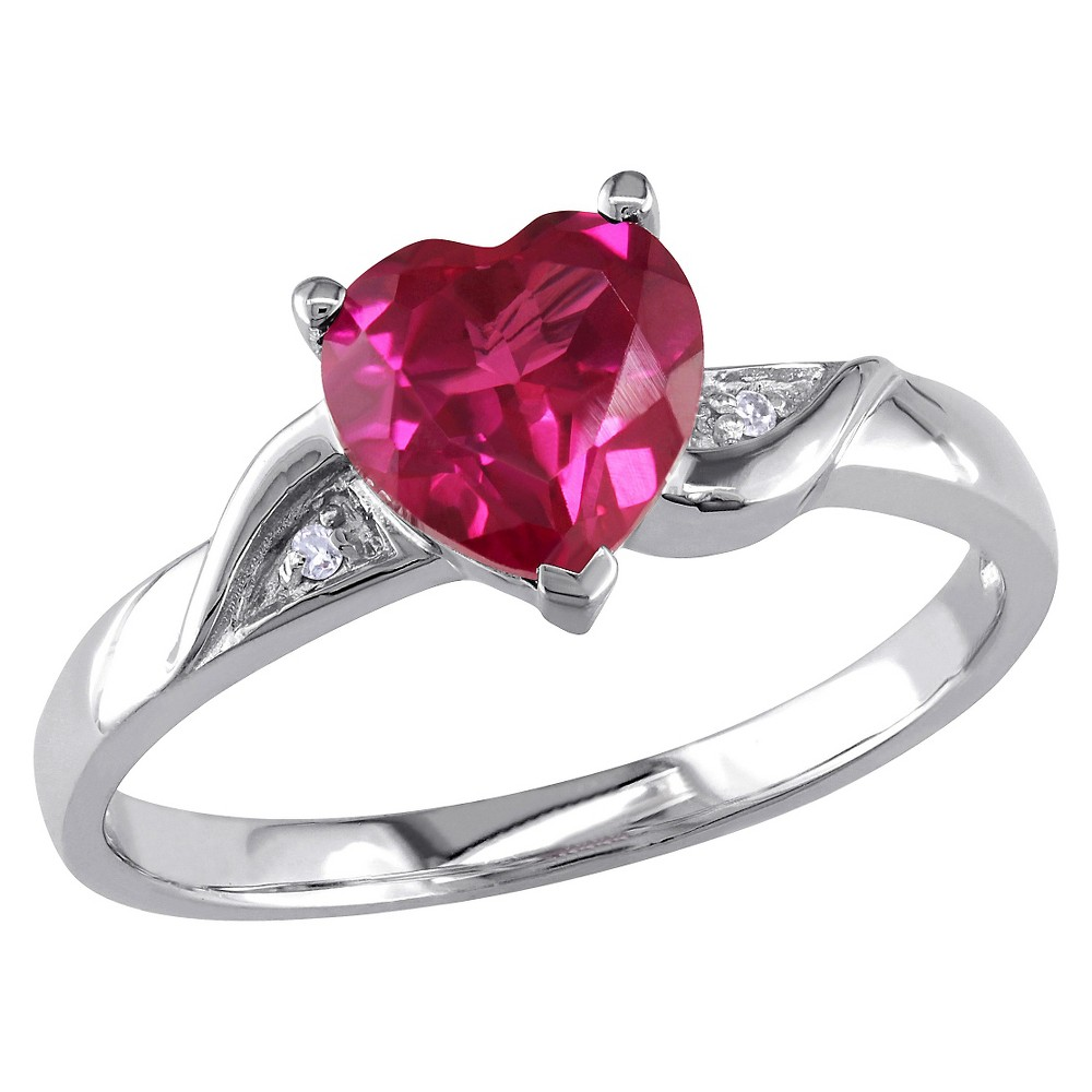 1 5/8 CT. T.W. Simulated Heart Shaped Ruby and 0.01 CT. T.W. Diamond Ring in Sterling Silver - Ruby, Red