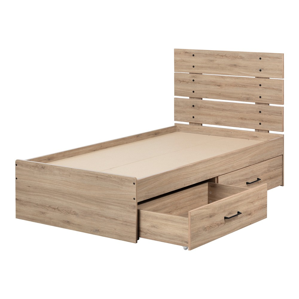 Twin Fakto Bed Set with 2 Drawers Rustic Oak - South Shore