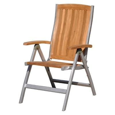 Burma Teak And Aluminum Outdoor Chair   Natural Finish   Courtyard Casual