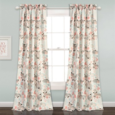 Pixie Fox Curtain Panels Pink/Gray- Lush Décor