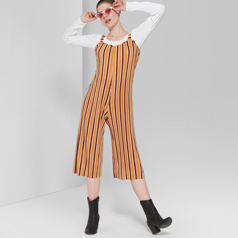 cbf4af6fe057 Womens Striped Strappy Scoop Neck Pleated Knit Jumpsuit Wild Fable Yellow  Xxl
