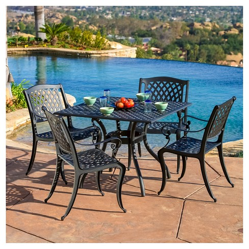 Hallandale 5pc Cast Aluminum Square Patio Dining Set -<br> Christopher Knight Home - image 1 of 3