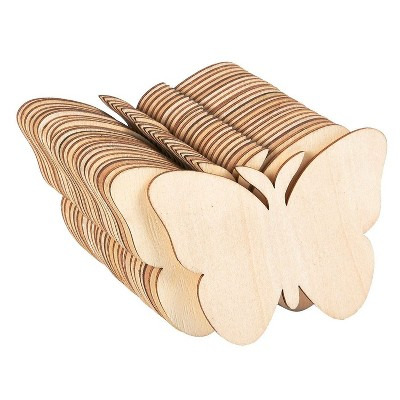 Juvale Unfinished Wood Cutout, 24-Pack Butterfly Shaped Wood Pieces for Wooden Crafts