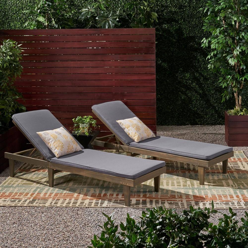 Image of Nadine 2pk Gray Acacia Wood Chaise Lounge Gray/Dark Gray - Christopher Knight Home