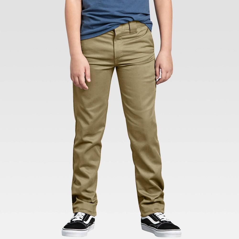 Dickies Boys 39 Flex Skinny Fit Straight Leg Pants Khaki 10