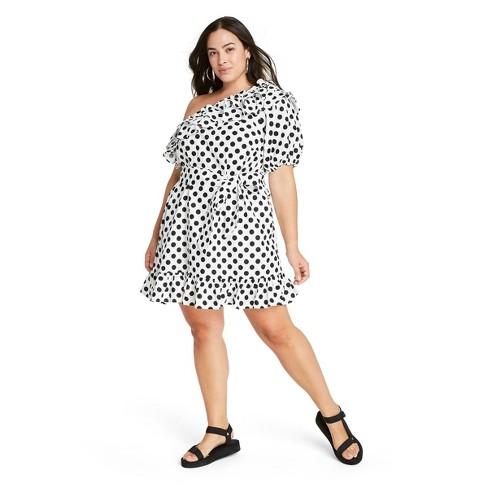 Women's Polka Dot One Shoulder Dress - Lisa Marie Fernandez for Target (Regular & Plus) White/Black  - image 1 of 4