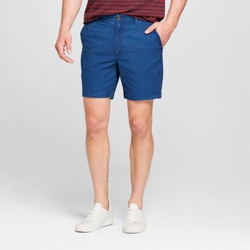"""Men's 7"""" Seersucker Linden Flat Front Shorts - Goodfellow & Co™ Navy 34 - image 1 of 3"""