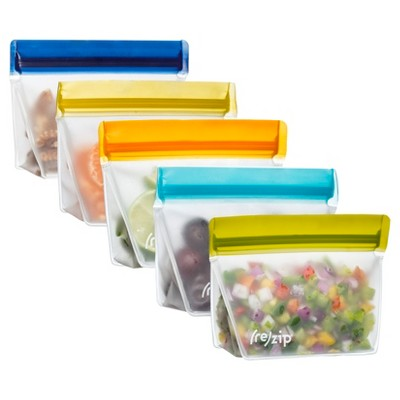 (re)zip Leak-Proof Assorted Colors Stand Up Storage Bag- 5ct