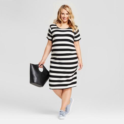 Maternity Plus Size Striped Side Shirred Short Sleeve Midi Dress