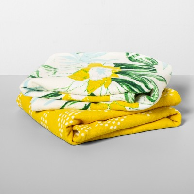 2pk Floral/Diamond Hand Towels Yellow/Green - Opalhouse™
