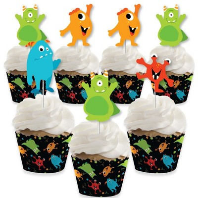 Big Dot of Happiness Monster Bash - Cupcake Decoration - Little Monster Birthday Party or Baby Shower Cupcake Wrappers and Treat Picks Kit - Set of 24