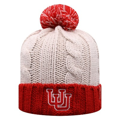 NCAA Utah Utes Women's Natural Cable Knit Cuffed Beanie with Pom