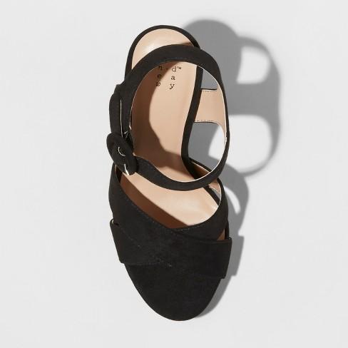 e9ab6e6162ab Women s Fiona Glitter Satin Crossband Platform Quarter Strap Sandal - A New  Day™ Black 7   Target