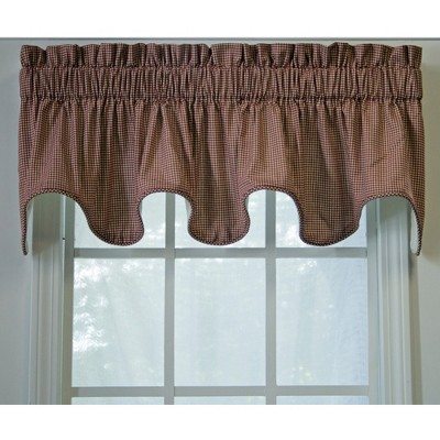 """Ellis Curtain Logan Check High Quality Room Darkening Solid Natural Color Lined Scallop Window Valance - (70""""x15"""")"""