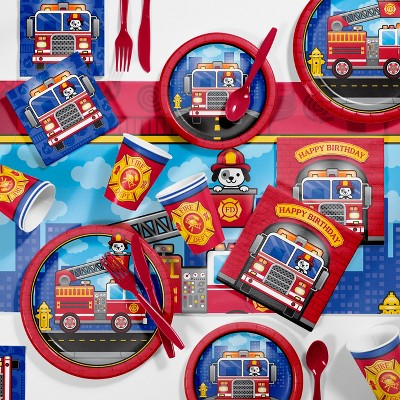 81pk Fire Truck Party Supplies Kit Disposable Dinnerware Set