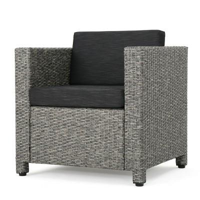 Puerta Wicker Club Chair - Mixed Black/Dark Gray - Christopher Knight Home