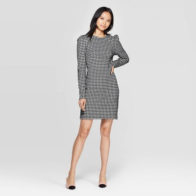 Women's Plaid Puff Long Sleeve Boat Neck A Line Mini Dress   Who What Wear Black/White by Who What Wear Black/White